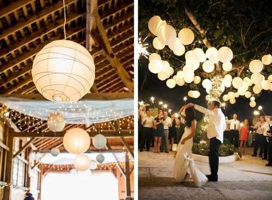 Φωτισμός στο τραπέζι του γάμου.