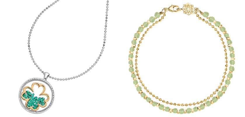 Κοσμήματα με πράσινες λεπτομέρειες.
