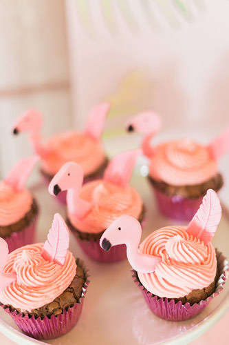 Cupcakes flamingo για βάπτιση