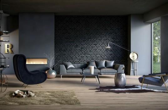 Απλός καναπές με μοντέρνα διακόσμηση.